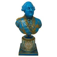 Antique Sevres Turquoise Porcelain Bust of Louis XVI France