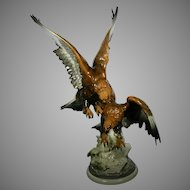 Monumental Hutschenreuther Porcelain Figurine Statue of Eagles by K. Tutter Germany