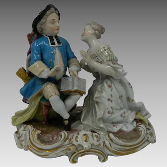 Antique Meissen Porcelain Figurine Set Lady and Gentleman Germany