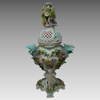 Antique Meissen Style Potpourri Porcelain Urn Encrusted Flowers & Putti Germany #1