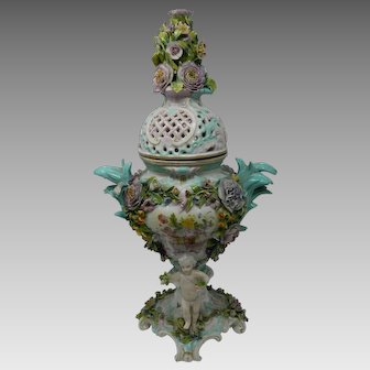 Antique Meissen Style Potpourri Porcelain Urn Encrusted Flowers & Putti Germany #2