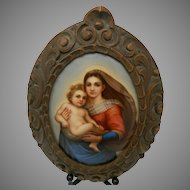 Antique Framed Porcelain Plaque Madonna After Raphael Italy