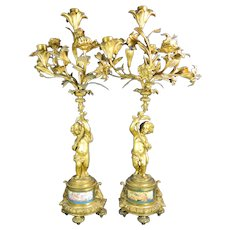 1850-1899 Pair of Large Gold Bronze Sevres Candle Holders Cherubs France
