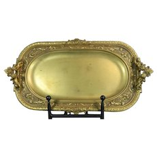 1850-1899 Gold Gilded Bronze Tray with Cherubs and Garlands France