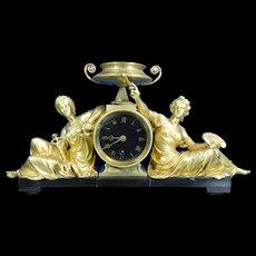 1850-1899 Gold Gilded Bronze Mantle Clock Goddesses of Science & Art France