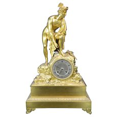 Antique Gilded Bronze Mantel Clock Hermes or Mercury France