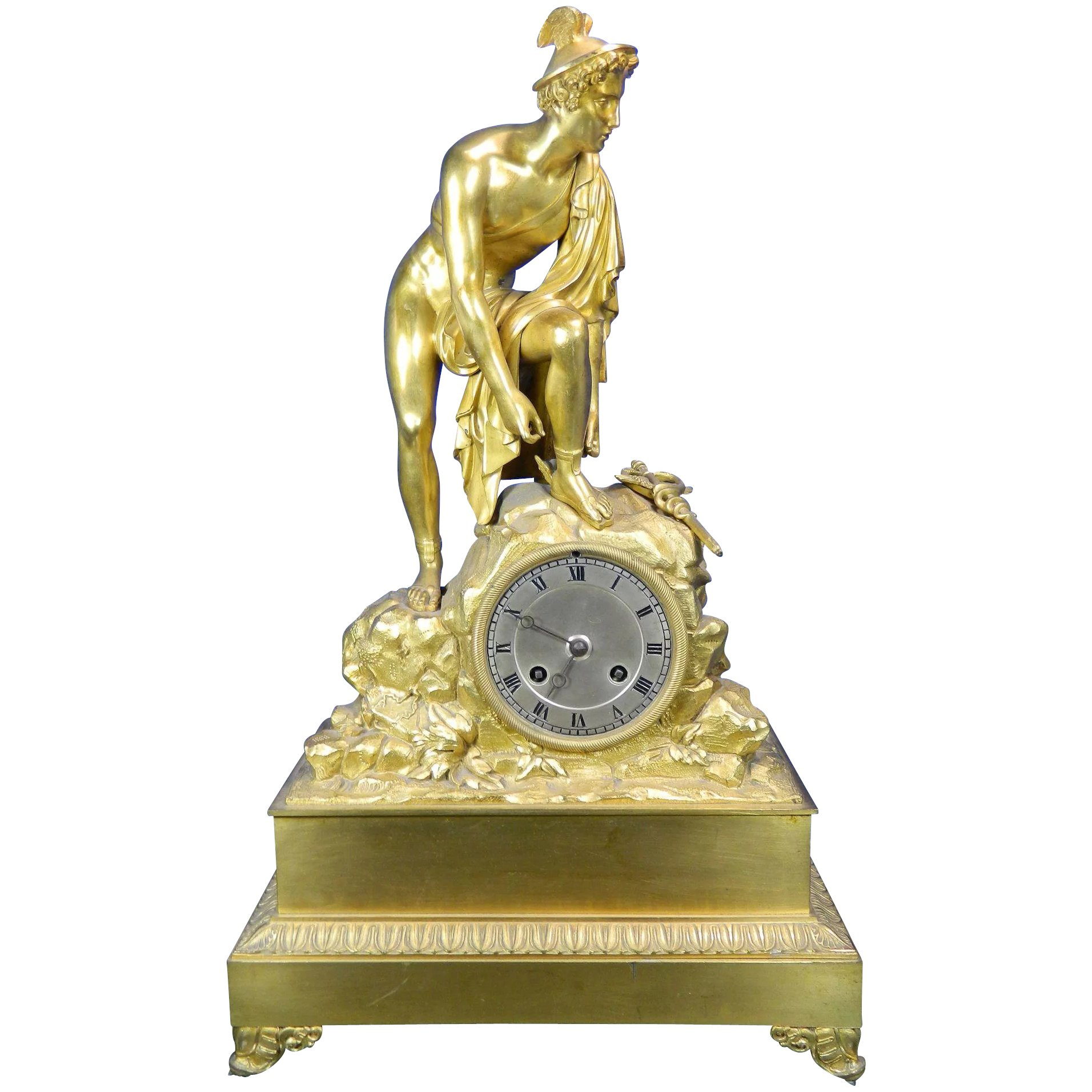 Antique Gilded Bronze Mantel Clock
