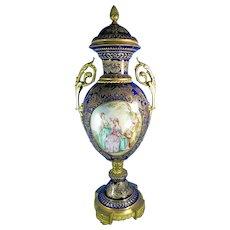 """1900-1940 31"""" Tall Multi-Color Sevres Limoges Urn France"""