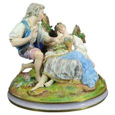 1850-1899 Large Multi-Color Dresden Porcelain Figurine Statue Set Germany