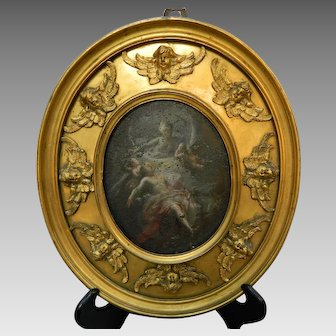 Antique Gold Gilt Bronze Frame Angel Faces with Painting on Copper Romantic Scene France