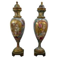 A Pair of Antique Champlevé Art Nouveau Urns Portraits of Valkyries Flower Bouquets Austria