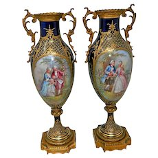 An Antique Pair of Sevres Porcelain Flower Vases Hand Painted