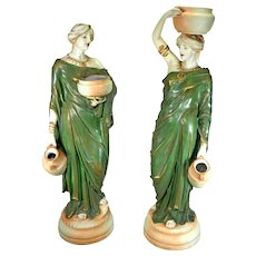 Large Pair Antique Porcelain Statues Amphora Turn Wien Water Carriers