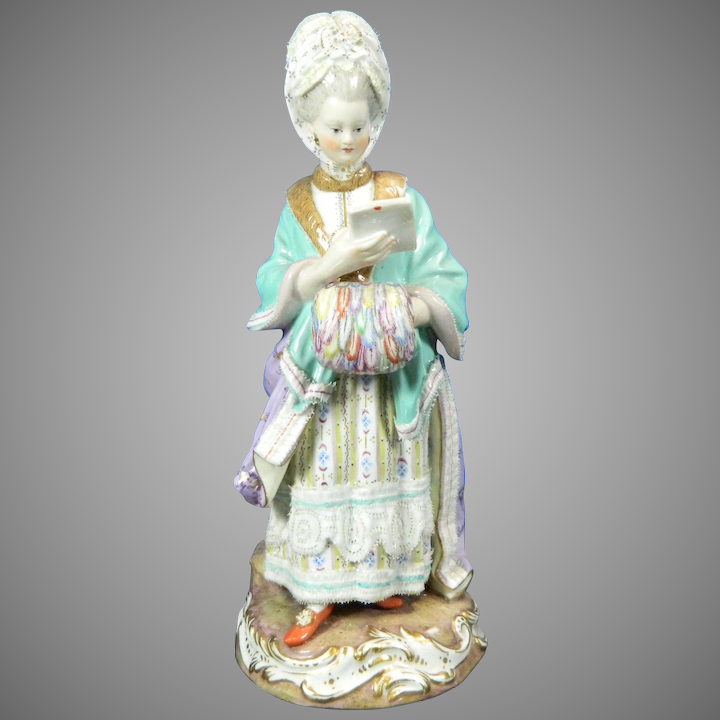 06e97866d3b Antique First Class Meissen Hand Painted Porcelain Figurine Lady Germany