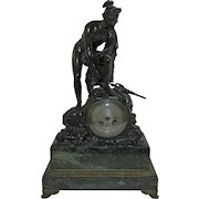 Antique (1850-1899) Bronze and Marble Mantel Clock Hermes or Mercury France