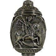 Old Greek Egg Shaped Figure AG995 Silver Saint George and the Dragon