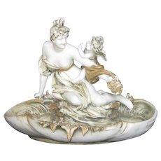 Large Art Nouveau Amphora Austrian Porcelain Bowl Maiden and Cherub