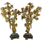 Antique Pair of Gold Gilded Bronze Candle Holders France from Christie's