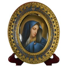 Antique Framed KPM Style Porcelain Plaque of Our Lady of Sorrows After Carlo Dolci France