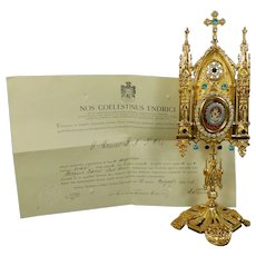 Large Reliquary with Relic from the TRUE CROSS with Certificate COA Italy