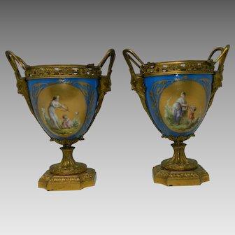 Antique Pair Sevres Porcelain Flower Vases Hand Painted Turquoise France