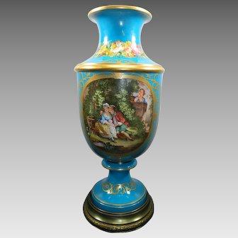 Antique Monumental Sevres Style Porcelain Flower Vase Hand Painted Turquoise France