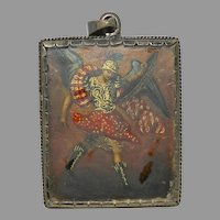 Antique Reliquary Copper Plaque Archangel and Virgin Mary Silver Frame