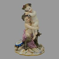 Antique Meissen First Class Porcelain Figurine Statue Faun and Cupid Germany