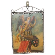 Antique Reliquary Copper Plaque Two Archangels in a Silver Frame