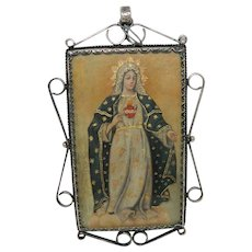 Antique Reliquary Copper Plaque Virgin Mary Sacred Heart of Jesus in a Silver Frame