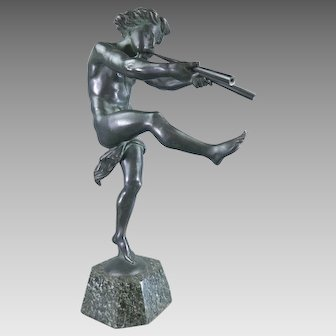 Antique Unsigned Bronze Statue Sculpture Faun Playing Trumpets on a Marble Base France