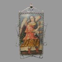 Antique Reliquary Copper Plaque Archangel Virgin Mary Silver Frame