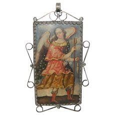 Antique Reliquary Copper Plaque Archangel Virgin Mary Silver Frame