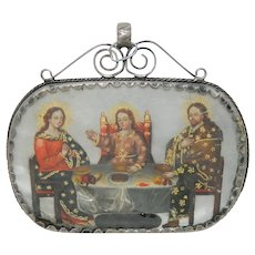 Antique Reliquary Mother of Pearl Sacred Family Hand Carver Romantic Scene Silver Frame