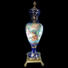 Post-1940 Monumental Multi-Color Porcelain Urn Spain