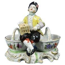 1850-1899 Sevres Multi-Color Porcelain Figurine Statue Salt Cellar Set France