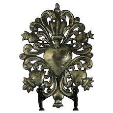 Antique Chiseled Coin Silver Ex Voto Reliquary Virgin Mary's Heart México