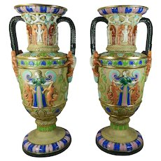 Antique Pair of Large Majolica Vases Egyptian Motif Czech Republic
