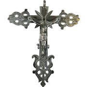 Antique Catholic Silver Crucifix Colonial Style from South America
