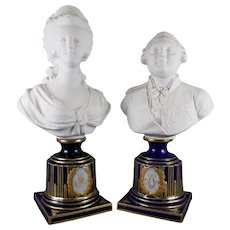 Antique Pair of Sevres Porcelain Busts Louis XV and Marie Antoinette French