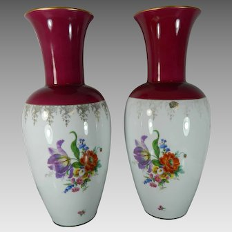 Antique Pair of Large Heinrich Porcelain Vases Decorated with Flowers Germany