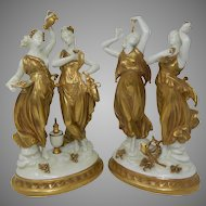 Pair White & Gold Kings Dresden Porcelain Figurines Statues Set Germany