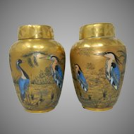 Antique Pair of Gold Hutschenreuther Porcelain Urns Vases Germany