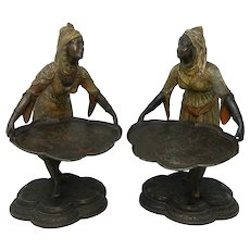 Antique Pair of Bergmann Style Spelter Statues Orientalists Card Holders Austria