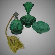 Vintage Art Deco Vanity Set Malachite Glass Perfume Bottles Trinket Box Schlevogt Czech Republic
