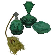 Vintage Art Deco Vanity Set Malachite Glass Perfume Bottles Trinket Box Schlevogt Czech Republic