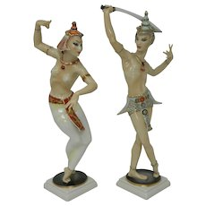 Pair of Vintage Figures Statues Hutschenreuther Porcelain Dancers Germany