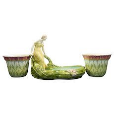 Antique Art Deco Majolica Garniture Set Centerpiece and Flower Pots