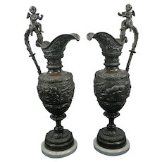 Antique Pair of Bronze Ewers Cherubs and Bacchus Heads Marble Stand France