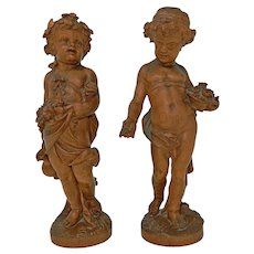 Antique Pair of Hand Carved Wood Cherub Statues Figures Allegories of Spring and Summer France